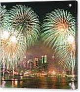 New York City Fireworks Acrylic Print by Songquan Deng