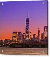 New York City Manhattan Midtown Panorama At Dusk With Skyscraper Acrylic Print