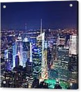 New York City Manhattan Night Panorama Acrylic Print