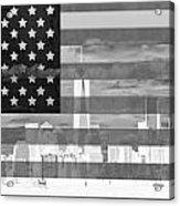 New York City On American Flag Black And White Acrylic Print