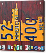 New York City Skyline License Plate Art 911 Twin Towers Statue Of Liberty Acrylic Print
