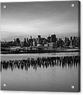 New York City Skyline Stillness Bw Acrylic Print