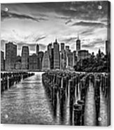 New York City Skyline Sunset Hues Bw Acrylic Print