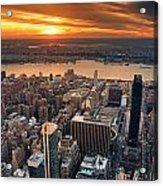 New York City Sunset Panorama Acrylic Print