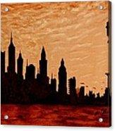 New York City Sunset Silhouette Acrylic Print