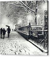 New York City - Winter - Snow At Night Acrylic Print by Vivienne Gucwa