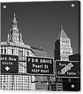 New York City With Traffic Signs Acrylic Print