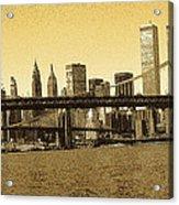 New York Downtown Manhattan Skyline - Yellow Panorama Acrylic Print