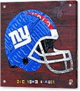 New York Giants Nfl Football Helmet License Plate Art Acrylic Print