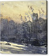 New York Harbor And Skyline At Night Circa 1921 Acrylic Print