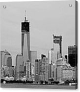 New York Harbor In Black And White Acrylic Print
