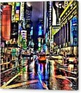 New York Lights In Rain Acrylic Print