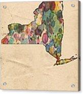 New York Map Vintage Watercolor Acrylic Print