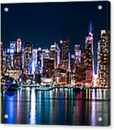 New York Panorama By Night Acrylic Print