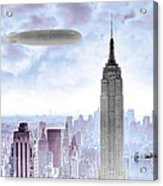New York Skyline And Blimp Acrylic Print
