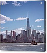 New York Skyline And Boat Acrylic Print