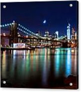 New York Skyline And Brooklyn Bridge With Crescent Moon Rising Acrylic Print