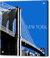 New York Skyline Brooklyn Bridge - Blue Acrylic Print by DB Artist