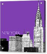 New York Skyline Chrysler Building - Purple Acrylic Print