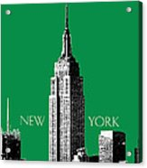 New York Skyline Empire State Building - Forest Green Acrylic Print by DB Artist