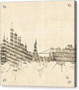 New York Skyline Sheet Music Cityscape Acrylic Print