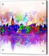 New York Skyline Splats 3 Acrylic Print by Bekim Art