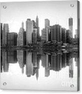 New York Skyline Sunset Bw Acrylic Print