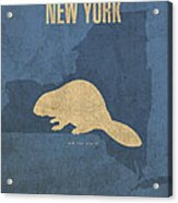 New York State Facts Minimalist Movie Poster Art  Acrylic Print