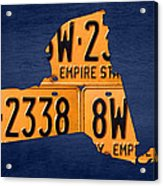 New York State License Plate Map Acrylic Print