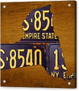 New York State License Plate Map - Empire State Orange Edition Acrylic Print
