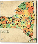 New York State Map Crystalized Counties On Worn Canvas By Design Turnpike Acrylic Print by Design Turnpike
