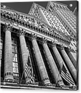 New York Stock Exchange Wall Street Nyse Bw Acrylic Print