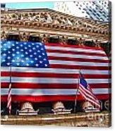 New York Stock Exchange With Us Flag Acrylic Print