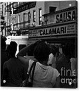 New York Street Fair - Black And White Acrylic Print