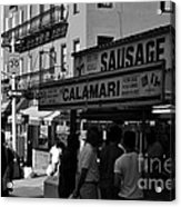 New York City Street Fair - Calamari Sausage - Black And White  Acrylic Print
