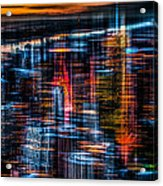 New York- The Night Awakes - Orange Acrylic Print by Hannes Cmarits