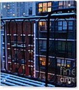 New York Window - Fire Escape In Winter Acrylic Print