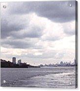 New York Harbor Panorama Twin Towers And Statue Acrylic Print