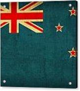 New Zealand Flag Vintage Distressed Finish Acrylic Print