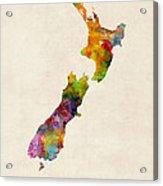 New Zealand Watercolor Map Acrylic Print