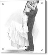 Newlyweds Kissing Pencil Portrait Acrylic Print