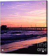 Newport Beach Pier Sunset In Orange County California Acrylic Print by Paul Velgos