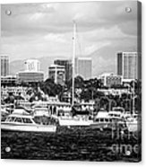 Newport Beach Skyline Black And White Picture Acrylic Print by Paul Velgos