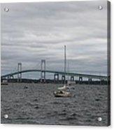Newport Bridge With Newport Harbor Light Acrylic Print