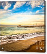 Newport Pier Photo In Newport Beach California Acrylic Print by Paul Velgos