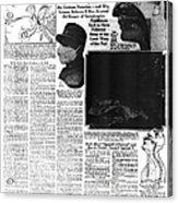 News Article, 1918 Influenza Pandemic Acrylic Print