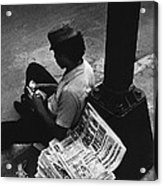 Newspaper Boy Mexico City D.f. Mexico 1970 Acrylic Print