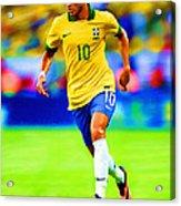 Neymar Soccer Football Art Portrait Painting Acrylic Print
