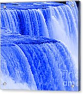 Niagara Falls Closeup In Blue Acrylic Print