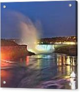 Niagara Falls Night Lights Panorama Acrylic Print